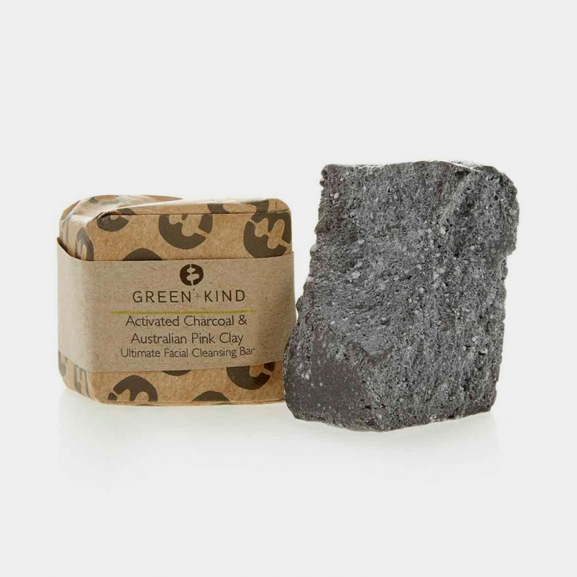 Green + Kind Activated Charcoal & Australian Pink Clay Soap (100g)