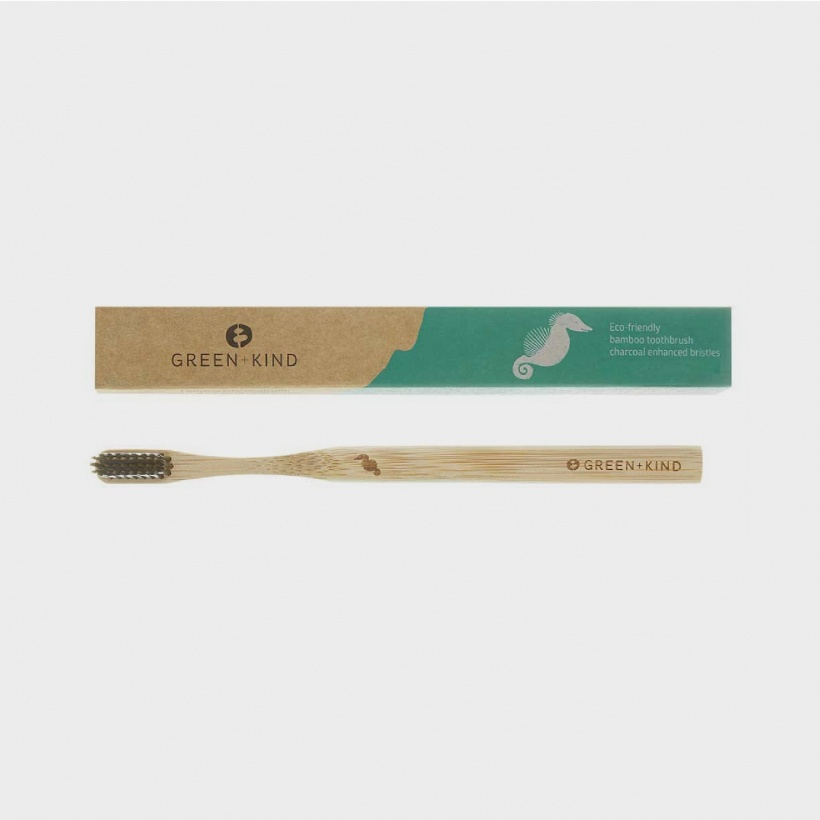 Green + Kind Bamboo Toothbrush • Charcoal Enhanced Bristles • Seahorse