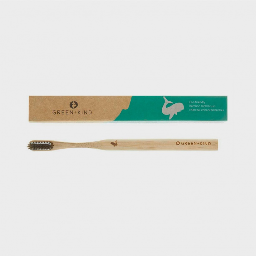 Green + Kind Bamboo Toothbrush Charcoal – Whale