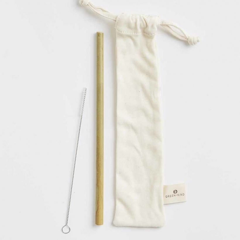 Green + Kind Cotton Straw Pouch + Reusable Bamboo Straw