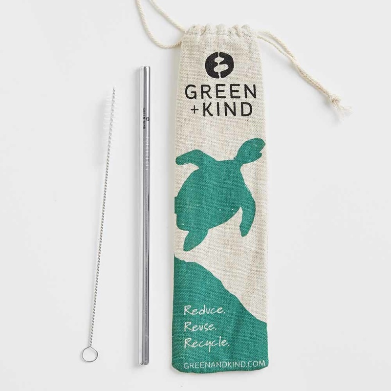 Green + Kind Stainless Steel Straight Straws – Single