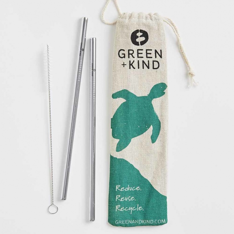 Green + Kind Stainless Steel Straight Straws – 2 Pack