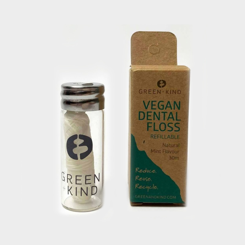 Green + Kind Refillable Plant Based Dental Floss Mint 30m