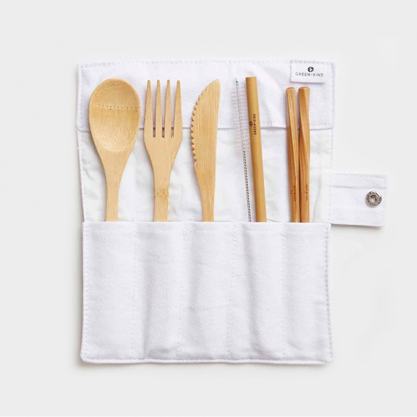 Green + Kind Bamboo Cutlery Set – Roll Up Natural