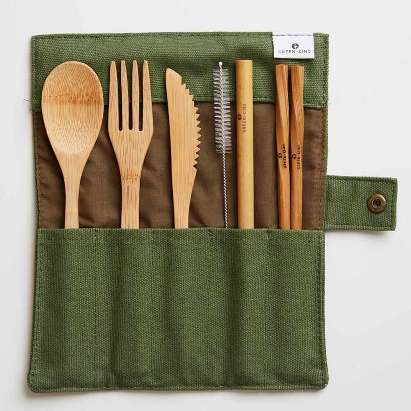 Green + Kind Bamboo Cutlery Set – Roll Up olive