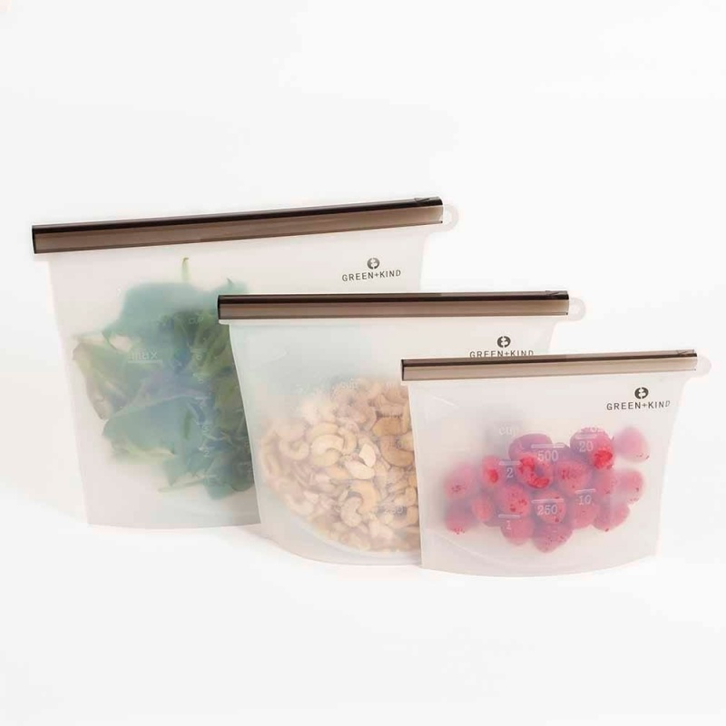 Green + Kind Reusable Silicone Food Pouch 3 Pack