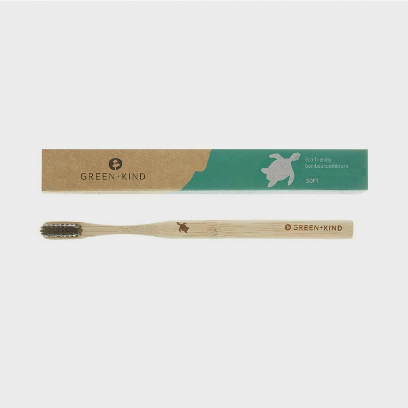 Green + Kind Bamboo Toothbrush Soft – Turtle