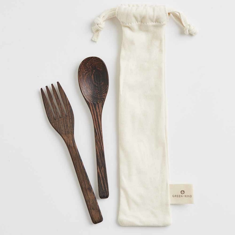 Green + Kind Natural Wood Cutlery Set