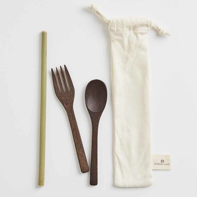 Green + Kind Natural Wood Cutlery Set & Straw