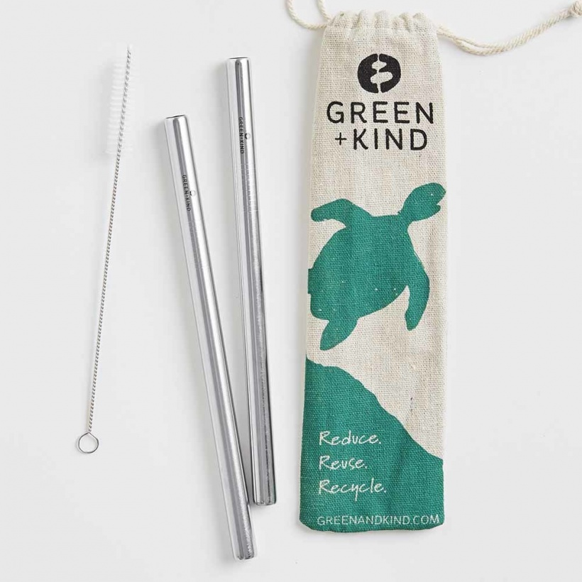 Green + Kind Stainless Steel Smoothie Straight Straws – 2 Pack