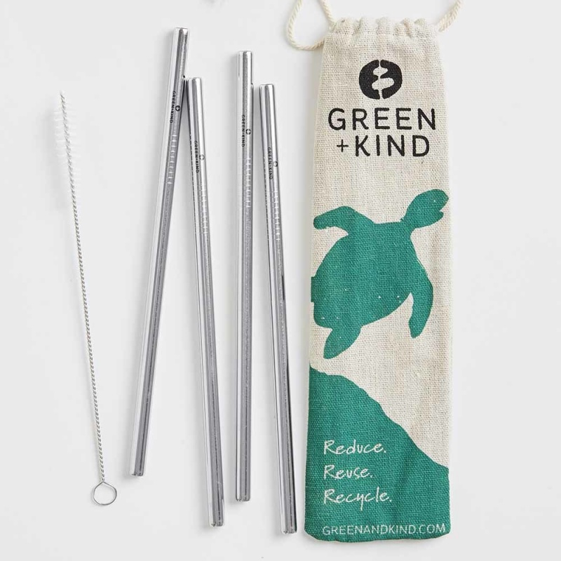 Green + Kind Stainless Steel Straight Straws – 4 Pack