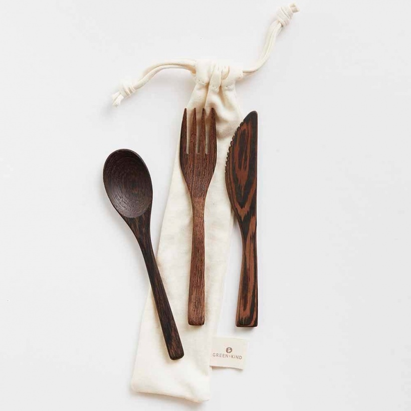 Green + Kind Natural Wood Cutlery Set Luxe