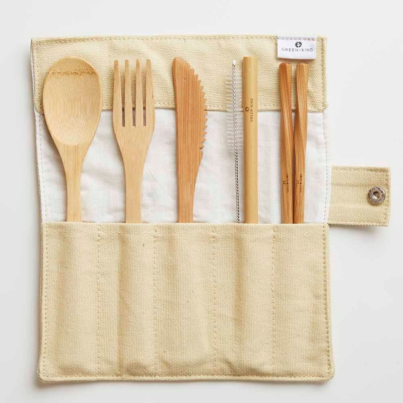 Green + Kind Bamboo Cutlery Set – Roll Up Beige