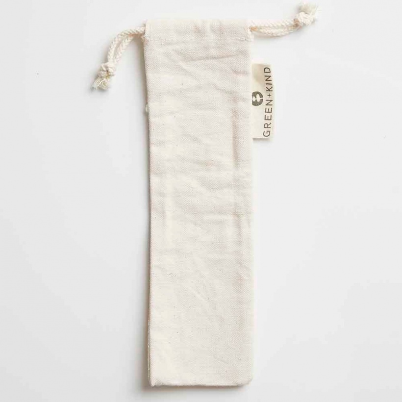 Green + Kind Cotton Straw or Cutlery Pouch