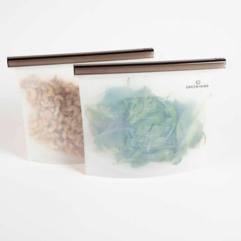 Green + Kind Reusable Silicone Food Pouch 1500ml 2 Pack